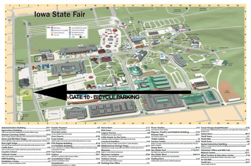 map of the iowa state fairgrounds Iowa State Fair Bicycle Parking map of the iowa state fairgrounds