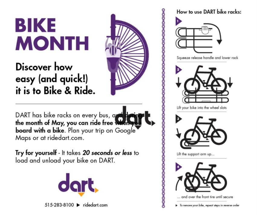 Bike and Ride DART Free in May in the Des Moines Metro